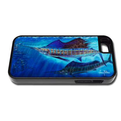 """""""iPhone 5 & 5s fine art phone case"""" by artist Jason Mathias: Carry around this unique piece of personalized art of two Sailfish lit up balling bait while protecting your phone all at the same time!"""