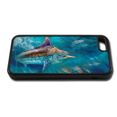 """""""iPhone 5c fine art phone case"""" by artist Jason Mathias: Carry around this unique piece of personalized art of a Black Marlin corralling up a school of Shark Mackerel while protecting your phone all at the same time!"""
