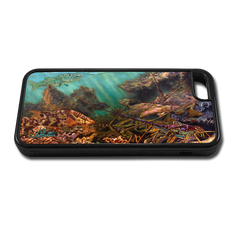 """iPhone 5c fine art phone case"" by artist Jason Mathias: Carry around this unique piece of personalized art of Lobster filled ledges with a camouflaged Hogfish and curious Barracuda while protecting your phone all at the same time!"