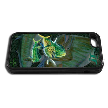 """iPhone 5c fine art phone case"" by artist Jason Mathias: Carry around this unique piece of personalized art of a Mahi, Dorado, or Dolphin while protecting your phone all at the same time!"