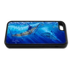 """iPhone 5c fine art phone case"" by artist Jason Mathias: Carry around this unique piece of personalized art of a Blue Marlin chasing a school of Yellowfin Tuna while protecting your phone all at the same time!"