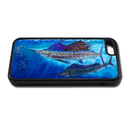 """""""iPhone 5c fine art phone case"""" by artist Jason Mathias: Carry around this unique piece of personalized art of two Sailfish lit up balling bait while protecting your phone all at the same time!"""