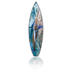 """(Bottom) Jason Mathias Fine Art Surfboards featuring a beautiful White Marlin painting with a high gloss finish. This work of art comes with a FCS Fin system and has more rocker and a triple concave bottom for high performance surfing.. This is a '6.1"""" SS high performance surfboard shaped by R&D Surf."""