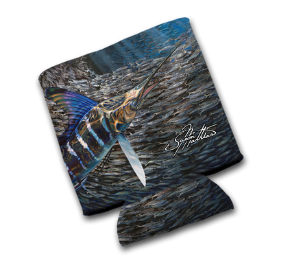 "Jason Mathias Art Koozies & Coolie Cups: Featuring ""Striped Marlin BaitBall"""