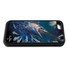 """iPhone 6 fine art phone case"" by artist Jason Mathias: Carry around this unique piece of personalized art of an illusive Swordfish stalking Squid in a underwater night scene while protecting your phone all at the same time!"