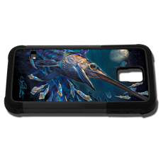"""""""Samsung Galaxy S5 fine art phone case"""" by artist Jason Mathias: Carry around this unique piece of personalized art of an illusive Swordfish stalking Squid in a underwater night scene while protecting your phone all at the same time!"""