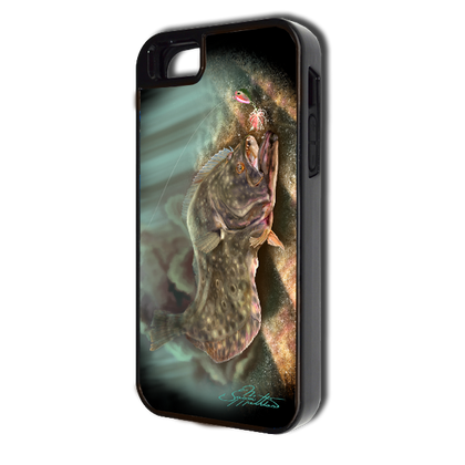 """""""iPhone 5 & 5s fine art phone case"""" by artist Jason Mathias: Carry around this unique piece of personalized art of a Fluke or Flounder ambushing a lure while protecting your phone all at the same time!"""