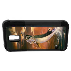 """""""Samsung Galaxy S5 fine art phone case"""" by artist Jason Mathias: Carry around this unique piece of personalized art of a huge Tarpon leaping and jumping after a school of mullet on a blazing sunset background while protecting your phone all at the same time!"""