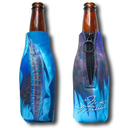 "Jason Mathias Fine Art Bottle Koozies & Coolie Cups: Featuring ""Wide Open"" a lit up Sailfish corralling a school of sardines!  Sport your very own Jason Mathias Sailfish Coolie Cup when fishing, on a sunset cruises, at a barbeque or just hanging out at the sandbar. These awesome bottle suits are sure to keep your beverage ice cold in style!"