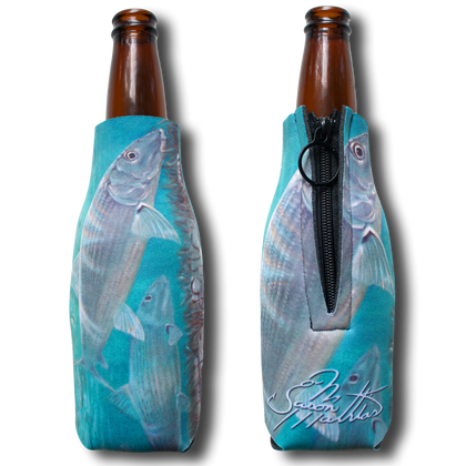 "Jason Mathias Fine Art Bottle Koozies & Coolie Cups: Featuring ""Ghost Flats"" a reflective Bonefish salking the flats!  Sport your very own Jason Mathias Bonefish Coolie Cup when fishing, on a sunset cruises, at a barbeque or just hanging out at the sandbar. These awesome bottle suits are sure to keep your beverage ice cold in style!"