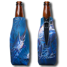 "Jason Mathias Fine Art Bottle Koozies & Coolie Cups: Featuring ""Prince Of Darkness"" a lit up Swordfish corralling a school of Squid under the moon lit surface!  Sport your very own Jason Mathias Swordfish Coolie Cup when fishing, on a sunset cruises, at a barbeque or just hanging out at the sandbar. These awesome bottle suits are sure to keep your beverage ice cold in style!"