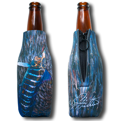 """Jason Mathias Fine Art Bottle Koozies & Coolie Cups: Featuring """"Striped Marlin"""" a lit up Striped Marlin corralling a massive baitball of sardines!  Sport your very own Jason Mathias Striped Marlin Coolie Cup when fishing, on a sunset cruises, at a barbeque or just hanging out at the sandbar. These awesome bottle suits are sure to keep your beverage ice cold in style!"""