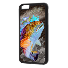 """iPhone 6 Plus fine art phone case"" by artist Jason Mathias: Carry around this unique piece of personalized art of a brilliant Redfish ambushing finger mullet and greenies while protecting your phone all at the same time!  Our phone cases provide supirior quality with a double layer of protection- outer ABS plastic shell and rubber honeycomb inside for shock absorption and a well shielded sublimated aluminum fine art plate that wont fade.  Case provides effective protection from dust, damage or any other unexpected situations.  (Made in the USA)"