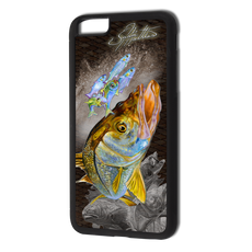 """iPhone 6 Plus fine art phone case"" by artist Jason Mathias: Carry around this unique piece of personalized art of a brilliant snook ambushing finger mullet and greenies while protecting your phone all at the same time!  Our phone cases provide supirior quality with a double layer of protection- outer ABS plastic shell and rubber honeycomb inside for shock absorption and a well shielded sublimated aluminum fine art plate that wont fade.  Case provides effective protection from dust, damage or any other unexpected situations.  (Made in the USA)"