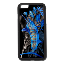 "iPhone 6 Plus fine art phone case"" by artist Jason Mathias: Carry around this unique piece of personalized art of a lit up Blue Marlin balling up a school of yellowfin tuna while protecting your phone all at the same time!  Our phone cases provide supirior quality with a double layer of protection- outer ABS plastic shell and rubber honeycomb inside for shock absorption and a well shielded sublimated aluminum fine art plate that wont fade.  Case provides effective protection from dust, damage or any other unexpected situations."