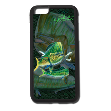 "iPhone 6 Plus fine art phone case"" by artist Jason Mathias: Carry around this unique piece of personalized art of a lit up Mahi, Dorado or Dolphin chasing a school of Ballyhoo while protecting your phone all at the same time!  Our phone cases provide supirior quality with a double layer of protection- outer ABS plastic shell and rubber honeycomb inside for shock absorption and a well shielded sublimated aluminum fine art plate that wont fade.  Case provides effective protection from dust, damage or any other unexpected situations."
