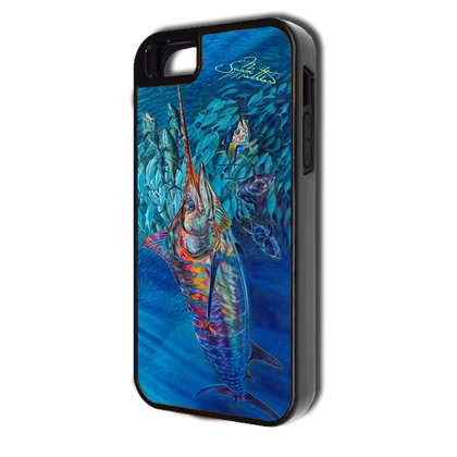 """iPhone 5 &5s fine art phone case"" by artist Jason Mathias: Carry around this unique piece of personalized art of a Blue Marlin chasing a huge baitball of Yellowfin Tuna while protecting your phone all at the same time!  Our phone cases provide supirior quality with a double layer of protection- outer ABS plastic shell and rubber for shock absorption and a well shielded sublimated aluminum fine art plate that wont fade.  Case provides effective protection from dust, damage or any other unexpected situations.  (Made in the USA)"