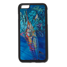 "iPhone 6 Plus fine art phone case"" by artist Jason Mathias: Carry around this unique piece of personalized art of a lit up Blue Marlin balling up a huge baitballl of yellowfin tuna while protecting your phone all at the same time!  Our phone cases provide supirior quality with a double layer of protection- outer ABS plastic shell and rubber honeycomb inside for shock absorption and a well shielded sublimated aluminum fine art plate that wont fade.  Case provides effective protection from dust, damage or any other unexpected situations."