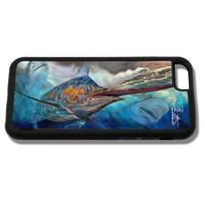 """iPhone 6 fine art phone case"" by artist Jason Mathias: Carry around this unique piece of personalized art of a huge Blue Marlin attacking one of Jason's Fine Art Mahi Lures, while being stalked by a massive Tiger Shark and Bull Shark while protecting your phone all at the same time!  Our phone cases provide supirior quality with a double layer of protection- outer ABS plastic shell and rubber honeycomb inside for shock absorption and a well shielded sublimated aluminum fine art plate that wont fade.  Case provides effective protection from dust, damage or any other unexpected situations.  (Made in the USA)"