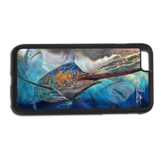 """iPhone 6 Plus fine art phone case"" by artist Jason Mathias: Carry around this unique piece of personalized art of a huge Blue Marlin attacking one of Jason's Fine Art Mahi Lures, while being stalked by a massive Tiger Shark and Bull Shark while protecting your phone all at the same time!  Our phone cases provide supirior quality with a double layer of protection- outer ABS plastic shell and rubber honeycomb inside for shock absorption and a well shielded sublimated aluminum fine art plate that wont fade.  Case provides effective protection from dust, damage or any other unexpected situations.  (Made in the USA)"