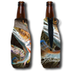 Jason Mathias Fine Art Bottle Koozies & Coolie Cups: Featuring two beautiful golden Redfish or Red Drum!  Sport your very own Jason Mathias Redfish Coolie Cup when fishing, on a sunset cruises, at a barbeque or just hanging out at the sandbar. These awesome bottle suits are sure to keep your beverage ice cold in style!   Material:   1/8th THICKNESS foam can material with premium photo quality printing.  Eco-friendly Printing gets no fading.   Machine washable, no fading, High Definition sublimation printing, vivid colors.