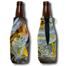 Jason Mathias Fine Art Bottle Koozies & Coolie Cups: Featuring a powerful Snook ambushing a school of finger mullet and greenies!  Sport your very own Jason Mathias Snook Coolie Cup when fishing, on a sunset cruises, at a barbeque or just hanging out at the sandbar. These awesome bottle suits are sure to keep your beverage ice cold in style!   Material:   1/8th THICKNESS foam can material with premium photo quality printing.  Eco-friendly Printing gets no fading.   Machine washable, no fading, High Definition sublimation printing, vivid colors.