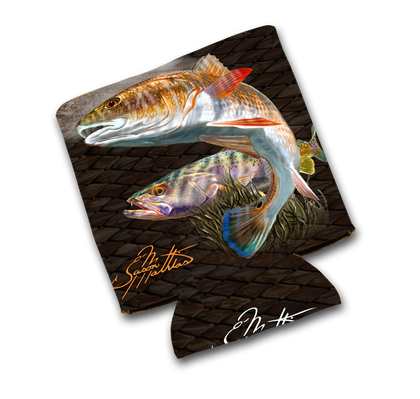 Jason Mathias Art Koozies & Coolie Cups: Featuring two beautiful golden Redfish or Red Drum!  Sport your very own Jason Mathias Redfish Koozie Cup when fishing, on a sunset cruises, at a barbeque or just hanging out at the sandbar.   Material:   1/8th THICKNESS foam can material with premium photo quality printing.  Eco-friendly Printing gets no fading.   Machine washable, no fading, High Definition sublimation printing, vivid colors.