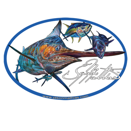 "The Blue Marlin Jason Mathias Gamefish Stickers are a must have for the avid fisherman and ocean enthusiast. This beautiful fine art blue marlin sticker can be applied to truck windows, coolers, tackle boxes and anything you can imagine. Jason Mathias Blue Marlin stickers are a great way to let everyone know what your passion is and that you love the ocean.   Sticker is a ""6x4"", 3mil Clear Vinyl Die cut.   Made in USA.   mil Clear Vinyl Die cut.   Made in USA."