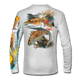 """Back view on white.   This shirt is truly awesome, featuring Jason Mathias's """"Redfish"""" fine art design sublimated onto our superior technology that definitely makes for a top favorite among all anglers and outdoor enthusiast world wide!  Say goodbye to sunburns and say hello to the supreme comfort of the Jason Mathias Solar Performance Long Sleeve shirt! This awesome shirt offers superior sun protection and performance qualities. So comfortable that you feel like you're not even wearing a shirt! Shirt doesn't snag or catch which makes it a must when doing what you do best! Featuring up to UPF +50 solar protection, the Solar Performance Long Sleeve is lightweight, comfortable, and sure to keep the sun's rays from penetrating through to your skin. This fabric is powered by PURE-tech™ moisture wicking technology which will keep you cooler in the summer and warmer in the winter.  Fabric: 4.1oz. 