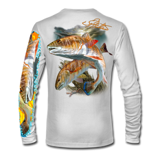 "Back view on white.   This shirt is truly awesome, featuring Jason Mathias's ""Redfish"" fine art design sublimated onto our superior technology that definitely makes for a top favorite among all anglers and outdoor enthusiast world wide!  Say goodbye to sunburns and say hello to the supreme comfort of the Jason Mathias Solar Performance Long Sleeve shirt! This awesome shirt offers superior sun protection and performance qualities. So comfortable that you feel like you're not even wearing a shirt! Shirt doesn't snag or catch which makes it a must when doing what you do best! Featuring up to UPF +50 solar protection, the Solar Performance Long Sleeve is lightweight, comfortable, and sure to keep the sun's rays from penetrating through to your skin. This fabric is powered by PURE-tech™ moisture wicking technology which will keep you cooler in the summer and warmer in the winter.  Fabric: 4.1oz. 