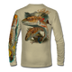 """Back view on tan.   This shirt is truly awesome, featuring Jason Mathias's """"Redfish"""" fine art design sublimated onto our superior technology that definitely makes for a top favorite among all anglers and outdoor enthusiast world wide!  Say goodbye to sunburns and say hello to the supreme comfort of the Jason Mathias Solar Performance Long Sleeve shirt! This awesome shirt offers superior sun protection and performance qualities. So comfortable that you feel like you're not even wearing a shirt! Shirt doesn't snag or catch which makes it a must when doing what you do best! Featuring up to UPF +50 solar protection, the Solar Performance Long Sleeve is lightweight, comfortable, and sure to keep the sun's rays from penetrating through to your skin. This fabric is powered by PURE-tech™ moisture wicking technology which will keep you cooler in the summer and warmer in the winter.  Fabric: 4.1oz. 