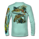 """Back view on seagrass green.  This shirt is truly awesome, featuring Jason Mathias's """"Redfish"""" fine art design sublimated onto our superior technology that definitely makes for a top favorite among all anglers and outdoor enthusiast world wide!  Say goodbye to sunburns and say hello to the supreme comfort of the Jason Mathias Solar Performance Long Sleeve shirt! This awesome shirt offers superior sun protection and performance qualities. So comfortable that you feel like you're not even wearing a shirt! Shirt doesn't snag or catch which makes it a must when doing what you do best! Featuring up to UPF +50 solar protection, the Solar Performance Long Sleeve is lightweight, comfortable, and sure to keep the sun's rays from penetrating through to your skin. This fabric is powered by PURE-tech™ moisture wicking technology which will keep you cooler in the summer and warmer in the winter.  Fabric: 4.1oz. 