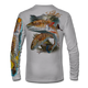 """Back view on pearl grey.   This shirt is truly awesome, featuring Jason Mathias's """"Redfish"""" fine art design sublimated onto our superior technology that definitely makes for a top favorite among all anglers and outdoor enthusiast world wide!  Say goodbye to sunburns and say hello to the supreme comfort of the Jason Mathias Solar Performance Long Sleeve shirt! This awesome shirt offers superior sun protection and performance qualities. So comfortable that you feel like you're not even wearing a shirt! Shirt doesn't snag or catch which makes it a must when doing what you do best! Featuring up to UPF +50 solar protection, the Solar Performance Long Sleeve is lightweight, comfortable, and sure to keep the sun's rays from penetrating through to your skin. This fabric is powered by PURE-tech™ moisture wicking technology which will keep you cooler in the summer and warmer in the winter.  Fabric: 4.1oz. 