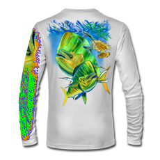 "Back view on white.  This shirt is truly awesome, featuring Jason Mathias's ""Mahi dolphin"" fine art design sublimated onto our superior technology that definitely makes for a top favorite among all anglers and outdoor enthusiast world wide!  Say goodbye to sunburns and say hello to the supreme comfort of the Jason Mathias Solar Performance Long Sleeve shirt! This awesome shirt offers superior sun protection and performance qualities. So comfortable that you feel like you're not even wearing a shirt! Shirt doesn't snag or catch which makes it a must when doing what you do best! Featuring up to UPF +50 solar protection, the Solar Performance Long Sleeve is lightweight, comfortable, and sure to keep the sun's rays from penetrating through to your skin. This fabric is powered by PURE-tech™ moisture wicking technology which will keep you cooler in the summer and warmer in the winter.  Fabric: 4.1oz. 
