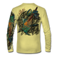 "Back view on pale yellow.  This shirt is truly awesome, featuring Jason Mathias's ""Blue Marlin and Tuna"" fine art design sublimated onto our superior technology that definitely makes for a top favorite among all anglers and outdoor enthusiast world wide!  Say goodbye to sunburns and say hello to the supreme comfort of the Jason Mathias Solar Performance Long Sleeve shirt! This awesome shirt offers superior sun protection and performance qualities. So comfortable that you feel like you're not even wearing a shirt! Shirt doesn't snag or catch which makes it a must when doing what you do best! Featuring up to UPF +50 solar protection, the Solar Performance Long Sleeve is lightweight, comfortable, and sure to keep the sun's rays from penetrating through to your skin. This fabric is powered by PURE-tech™ moisture wicking technology which will keep you cooler in the summer and warmer in the winter.  Fabric: 4.1oz. 