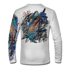 "Back view on white.  This shirt is truly awesome, featuring Jason Mathias's ""Blue Marlin and Tuna"" fine art design sublimated onto our superior technology that definitely makes for a top favorite among all anglers and outdoor enthusiast world wide!  Say goodbye to sunburns and say hello to the supreme comfort of the Jason Mathias Solar Performance Long Sleeve shirt! This awesome shirt offers superior sun protection and performance qualities. So comfortable that you feel like you're not even wearing a shirt! Shirt doesn't snag or catch which makes it a must when doing what you do best! Featuring up to UPF +50 solar protection, the Solar Performance Long Sleeve is lightweight, comfortable, and sure to keep the sun's rays from penetrating through to your skin. This fabric is powered by PURE-tech™ moisture wicking technology which will keep you cooler in the summer and warmer in the winter.  Fabric: 4.1oz. 