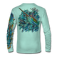 """Back view on seagrass green.   This shirt is truly awesome, featuring Jason Mathias's """"Sushi Roll Blue Marlin and Tuna ball"""" fine art design sublimated onto our superior technology that definitely makes for a top favorite among all anglers and outdoor enthusiast world wide!   Say goodbye to sunburns and say hello to the supreme comfort of the Jason Mathias Solar Performance Long Sleeve shirt! This awesome shirt offers superior sun protection and performance qualities. So comfortable that you feel like you're not even wearing a shirt! Shirt doesn't snag or catch which makes it a must when doing what you do best! Featuring up to UPF +50 solar protection, the Solar Performance Long Sleeve is lightweight, comfortable, and sure to keep the sun's rays from penetrating through to your skin. This fabric is powered by PURE-tech™ moisture wicking technology which will keep you cooler in the summer and warmer in the winter."""