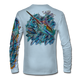 """Back view on arctic blue.   This shirt is truly awesome, featuring Jason Mathias's """"Sushi Roll Blue Marlin and Tuna ball"""" fine art design sublimated onto our superior technology that definitely makes for a top favorite among all anglers and outdoor enthusiast world wide!   Say goodbye to sunburns and say hello to the supreme comfort of the Jason Mathias Solar Performance Long Sleeve shirt! This awesome shirt offers superior sun protection and performance qualities. So comfortable that you feel like you're not even wearing a shirt! Shirt doesn't snag or catch which makes it a must when doing what you do best! Featuring up to UPF +50 solar protection, the Solar Performance Long Sleeve is lightweight, comfortable, and sure to keep the sun's rays from penetrating through to your skin. This fabric is powered by PURE-tech™ moisture wicking technology which will keep you cooler in the summer and warmer in the winter."""