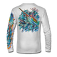 """Back view on white.   This shirt is truly awesome, featuring Jason Mathias's """"Sushi Roll Blue Marlin and Tuna ball"""" fine art design sublimated onto our superior technology that definitely makes for a top favorite among all anglers and outdoor enthusiast world wide!   Say goodbye to sunburns and say hello to the supreme comfort of the Jason Mathias Solar Performance Long Sleeve shirt! This awesome shirt offers superior sun protection and performance qualities. So comfortable that you feel like you're not even wearing a shirt! Shirt doesn't snag or catch which makes it a must when doing what you do best! Featuring up to UPF +50 solar protection, the Solar Performance Long Sleeve is lightweight, comfortable, and sure to keep the sun's rays from penetrating through to your skin. This fabric is powered by PURE-tech™ moisture wicking technology which will keep you cooler in the summer and warmer in the winter."""