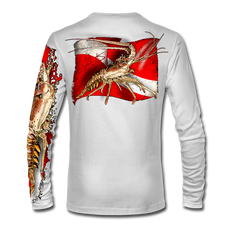 "Back view on white.  This shirt is truly awesome, featuring Jason Mathias's ""Spiny Lobster"" fine art design sublimated onto our superior technology that definitely makes for a top favorite among all divers, freedivers and outdoor enthusiast world wide!  Say goodbye to sunburns and say hello to the supreme comfort of the Jason Mathias Solar Performance Long Sleeve shirt! This awesome shirt offers superior sun protection and performance qualities. So comfortable that you feel like you're not even wearing a shirt! Shirt doesn't snag or catch which makes it a must when doing what you do best! Featuring up to UPF +50 solar protection, the Solar Performance Long Sleeve is lightweight, comfortable, and sure to keep the sun's rays from penetrating through to your skin. This fabric is powered by PURE-tech™ moisture wicking technology which will keep you cooler in the summer and warmer in the winter.  Fabric: 4.1oz. 