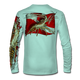 """Back view on seagrass green.  This shirt is truly awesome, featuring Jason Mathias's """"Spiny Lobster"""" fine art design sublimated onto our superior technology that definitely makes for a top favorite among all divers, freedivers and outdoor enthusiast world wide!  Say goodbye to sunburns and say hello to the supreme comfort of the Jason Mathias Solar Performance Long Sleeve shirt! This awesome shirt offers superior sun protection and performance qualities. So comfortable that you feel like you're not even wearing a shirt! Shirt doesn't snag or catch which makes it a must when doing what you do best! Featuring up to UPF +50 solar protection, the Solar Performance Long Sleeve is lightweight, comfortable, and sure to keep the sun's rays from penetrating through to your skin. This fabric is powered by PURE-tech™ moisture wicking technology which will keep you cooler in the summer and warmer in the winter.  Fabric: 4.1oz. 