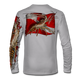 """Back view on pearl grey.  This shirt is truly awesome, featuring Jason Mathias's """"Spiny Lobster"""" fine art design sublimated onto our superior technology that definitely makes for a top favorite among all divers, freedivers and outdoor enthusiast world wide!  Say goodbye to sunburns and say hello to the supreme comfort of the Jason Mathias Solar Performance Long Sleeve shirt! This awesome shirt offers superior sun protection and performance qualities. So comfortable that you feel like you're not even wearing a shirt! Shirt doesn't snag or catch which makes it a must when doing what you do best! Featuring up to UPF +50 solar protection, the Solar Performance Long Sleeve is lightweight, comfortable, and sure to keep the sun's rays from penetrating through to your skin. This fabric is powered by PURE-tech™ moisture wicking technology which will keep you cooler in the summer and warmer in the winter.  Fabric: 4.1oz. 
