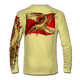 """Back view on pale yellow.  This shirt is truly awesome, featuring Jason Mathias's """"Spiny Lobster"""" fine art design sublimated onto our superior technology that definitely makes for a top favorite among all divers, freedivers and outdoor enthusiast world wide!  Say goodbye to sunburns and say hello to the supreme comfort of the Jason Mathias Solar Performance Long Sleeve shirt! This awesome shirt offers superior sun protection and performance qualities. So comfortable that you feel like you're not even wearing a shirt! Shirt doesn't snag or catch which makes it a must when doing what you do best! Featuring up to UPF +50 solar protection, the Solar Performance Long Sleeve is lightweight, comfortable, and sure to keep the sun's rays from penetrating through to your skin. This fabric is powered by PURE-tech™ moisture wicking technology which will keep you cooler in the summer and warmer in the winter.  Fabric: 4.1oz. 