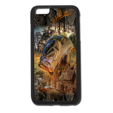 """iPhone 6 Plus fine art phone case"" by artist Jason Mathias: Carry around this unique piece of personalized art of a huge Largemouth Bass jumping out of the water after a dragonfly while protecting your phone all at the same time!  Our phone cases provide superior quality with a double layer of protection- outer ABS plastic shell and rubber honeycomb inside for shock absorption and a well shielded sublimated aluminum fine art plate that wont fade.  Case provides effective protection from dust, damage or any other unexpected situations.  (Made in the USA)"