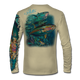 """Back view on tan.  This shirt is truly awesome, featuring Jason Mathias's """"Yellowfin Tuna ball"""" fine art design sublimated onto our superior technology that definitely makes for a top favorite among all anglers and outdoor enthusiast world wide!  Say goodbye to sunburns and say hello to the supreme comfort of the Jason Mathias Solar Performance Long Sleeve shirt! This awesome shirt offers superior sun protection and performance qualities. So comfortable that you feel like you're not even wearing a shirt! Shirt doesn't snag or catch which makes it a must when doing what you do best! Featuring up to UPF +50 solar protection, the Solar Performance Long Sleeve is lightweight, comfortable, and sure to keep the sun's rays from penetrating through to your skin. This fabric is powered by PURE-tech™ moisture wicking technology which will keep you cooler in the summer and warmer in the winter.  Fabric: 4.1oz. 