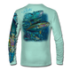 """Back view on seagrass green.  This shirt is truly awesome, featuring Jason Mathias's """"Yellowfin Tuna ball"""" fine art design sublimated onto our superior technology that definitely makes for a top favorite among all anglers and outdoor enthusiast world wide!  Say goodbye to sunburns and say hello to the supreme comfort of the Jason Mathias Solar Performance Long Sleeve shirt! This awesome shirt offers superior sun protection and performance qualities. So comfortable that you feel like you're not even wearing a shirt! Shirt doesn't snag or catch which makes it a must when doing what you do best! Featuring up to UPF +50 solar protection, the Solar Performance Long Sleeve is lightweight, comfortable, and sure to keep the sun's rays from penetrating through to your skin. This fabric is powered by PURE-tech™ moisture wicking technology which will keep you cooler in the summer and warmer in the winter.  Fabric: 4.1oz. 