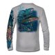 """Back view on pearl grey.  This shirt is truly awesome, featuring Jason Mathias's """"Yellowfin Tuna ball"""" fine art design sublimated onto our superior technology that definitely makes for a top favorite among all anglers and outdoor enthusiast world wide!  Say goodbye to sunburns and say hello to the supreme comfort of the Jason Mathias Solar Performance Long Sleeve shirt! This awesome shirt offers superior sun protection and performance qualities. So comfortable that you feel like you're not even wearing a shirt! Shirt doesn't snag or catch which makes it a must when doing what you do best! Featuring up to UPF +50 solar protection, the Solar Performance Long Sleeve is lightweight, comfortable, and sure to keep the sun's rays from penetrating through to your skin. This fabric is powered by PURE-tech™ moisture wicking technology which will keep you cooler in the summer and warmer in the winter.  Fabric: 4.1oz. 