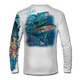 """Back view on white.  This shirt is truly awesome, featuring Jason Mathias's """"Yellowfin Tuna ball"""" fine art design sublimated onto our superior technology that definitely makes for a top favorite among all anglers and outdoor enthusiast world wide!  Say goodbye to sunburns and say hello to the supreme comfort of the Jason Mathias Solar Performance Long Sleeve shirt! This awesome shirt offers superior sun protection and performance qualities. So comfortable that you feel like you're not even wearing a shirt! Shirt doesn't snag or catch which makes it a must when doing what you do best! Featuring up to UPF +50 solar protection, the Solar Performance Long Sleeve is lightweight, comfortable, and sure to keep the sun's rays from penetrating through to your skin. This fabric is powered by PURE-tech™ moisture wicking technology which will keep you cooler in the summer and warmer in the winter.  Fabric: 4.1oz. 