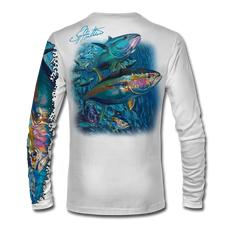 "Back view on white.  This shirt is truly awesome, featuring Jason Mathias's ""Yellowfin Tuna ball"" fine art design sublimated onto our superior technology that definitely makes for a top favorite among all anglers and outdoor enthusiast world wide!  Say goodbye to sunburns and say hello to the supreme comfort of the Jason Mathias Solar Performance Long Sleeve shirt! This awesome shirt offers superior sun protection and performance qualities. So comfortable that you feel like you're not even wearing a shirt! Shirt doesn't snag or catch which makes it a must when doing what you do best! Featuring up to UPF +50 solar protection, the Solar Performance Long Sleeve is lightweight, comfortable, and sure to keep the sun's rays from penetrating through to your skin. This fabric is powered by PURE-tech™ moisture wicking technology which will keep you cooler in the summer and warmer in the winter.  Fabric: 4.1oz. 