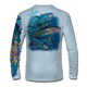 """Back view on pale blue.  This shirt is truly awesome, featuring Jason Mathias's """"Yellowfin Tuna ball"""" fine art design sublimated onto our superior technology that definitely makes for a top favorite among all anglers and outdoor enthusiast world wide!  Say goodbye to sunburns and say hello to the supreme comfort of the Jason Mathias Solar Performance Long Sleeve shirt! This awesome shirt offers superior sun protection and performance qualities. So comfortable that you feel like you're not even wearing a shirt! Shirt doesn't snag or catch which makes it a must when doing what you do best! Featuring up to UPF +50 solar protection, the Solar Performance Long Sleeve is lightweight, comfortable, and sure to keep the sun's rays from penetrating through to your skin. This fabric is powered by PURE-tech™ moisture wicking technology which will keep you cooler in the summer and warmer in the winter.  Fabric: 4.1oz. 